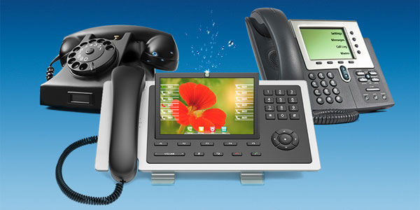 Telefonapparate aus verschiedenen Epochen
