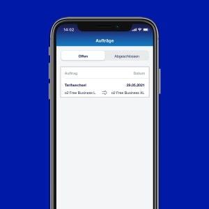 Auftragsübersicht: o2 Business App