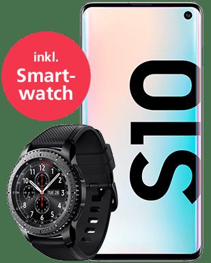 Samsung Galaxy S10 mit Smartwatch Detailansicht