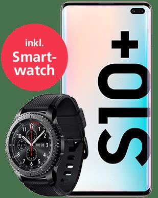 Samsung Galaxy S10+ mit Smartwatch Detailansicht