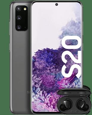 Samsung Galaxy S20 mit Galaxy Buds+ Detailansicht