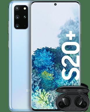 Samsung Galaxy S20+ mit Galaxy Buds+ Detailansicht