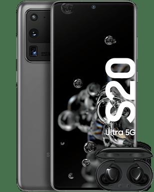 Samsung Galaxy S20 Ultra 5G mit Galaxy Buds+ Detailansicht