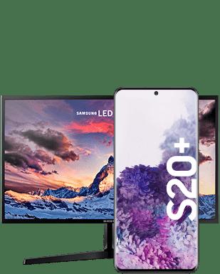 Samsung Galaxy S20+ mit Monitor Detailansicht