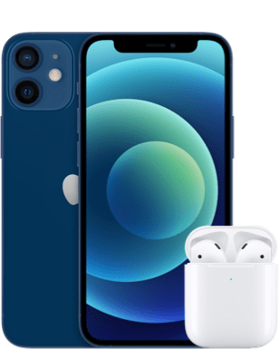 Apple iPhone 12 mini mit AirPods