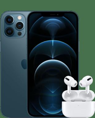 Apple iPhone 12 Pro Max mit AirPods Pro Detailansicht