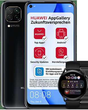 Huawei P40 lite mit Watch 3 mit o2 Free M mit 20 GB