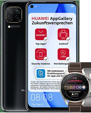 Huawei P40 lite mit Watch 3 Pro mit o2 Free M mit 20 GB